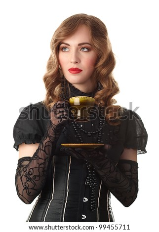 retro blond woman with cup. vintage style portrait. - stock photo