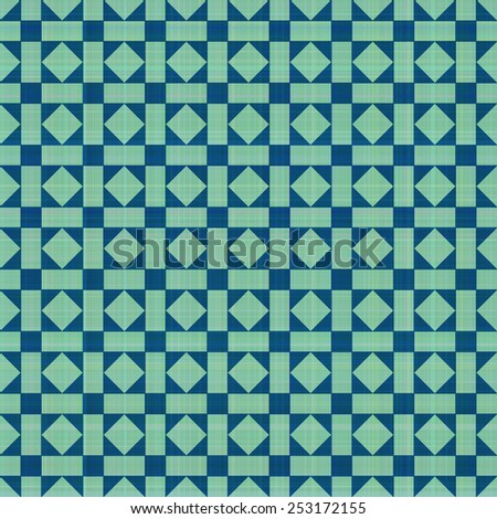 Retro blue-green ornate mosaic seamless plaid, raster version - stock photo