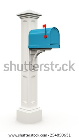 Retro blue mailbox isolated on white background 3D - stock photo
