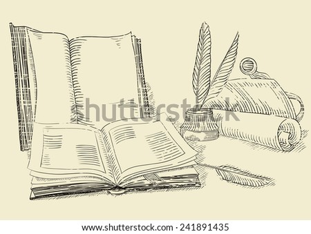 Retro books. Background  of old  books and antique objects at  engraving style.   - stock photo