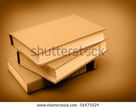 retro books stack - stock photo