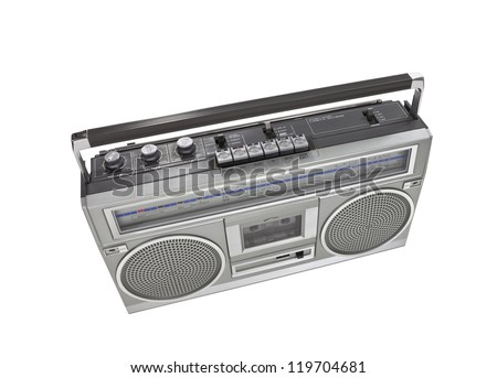 Retro boom box stereo isolated with clipping path. - stock photo