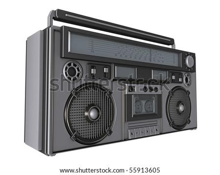 Retro Boombox Render on white - stock photo