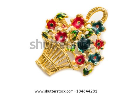 Retro brooch with flowers basket isolated - stock photo