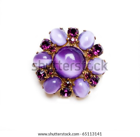retro brooch with lilac gems isolated on a white - stock photo