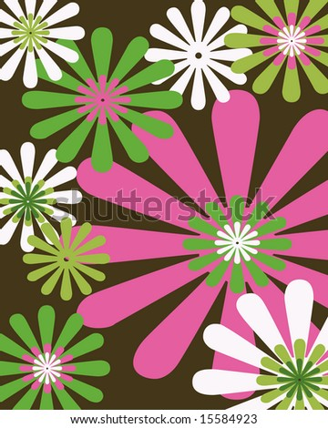 Retro brown, pink and green floral background