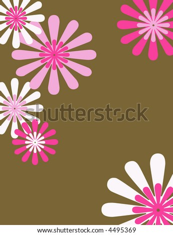 Retro brown, pink and white floral background