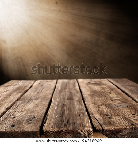 retro brown table with wall of light of lamp and free space  - stock photo