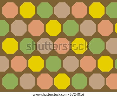 Retro brown, yellow, green and orange octagons