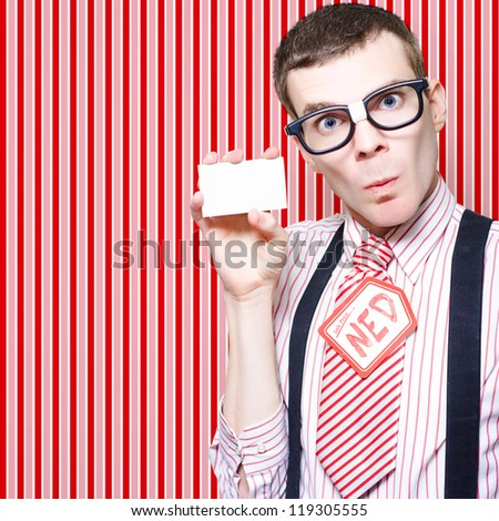 Retro Businessman Nerd Giving His Contact Card When Selling Whitegoods On Classic Striped Wallpaper Background - stock photo