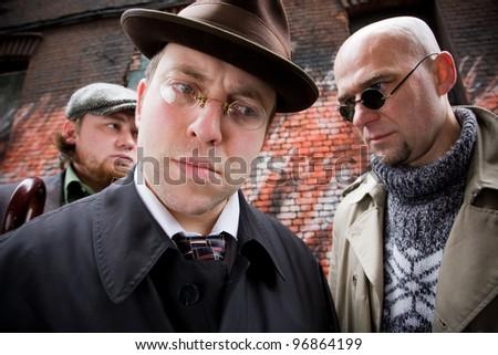 retro businessmen - stock photo