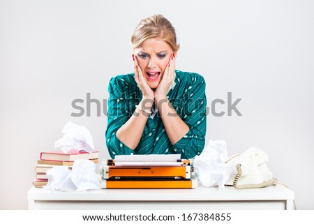 Retro businesswoman is in panic,there is too much work and she is making mistakes over and over again,Frustration at work - stock photo