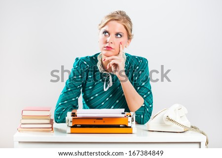 Retro businesswoman is sitting in her office,thinking about something,will she make a right decision?!Making decisions - stock photo