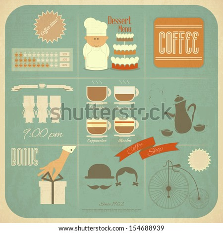 Retro Cafe Menu Card in Vintage Style with Types of Coffee Drinks and Graphics Icons. JPEG version - stock photo