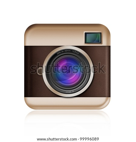 retro camera icon on white background,included clipping path - stock photo
