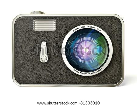 retro camera isolated on a white background - stock photo