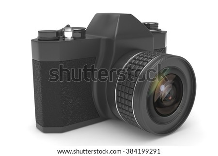 Retro camera isolated on  white background - stock photo