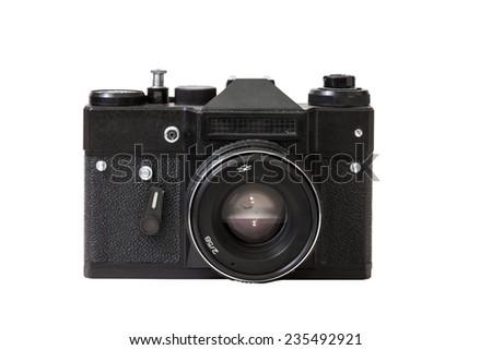 Retro camera on the white background - stock photo
