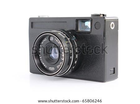 retro camera on white background - stock photo