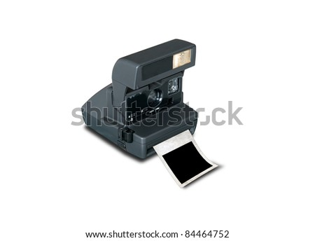 Retro camera with blank picture frame isolate on white - stock photo