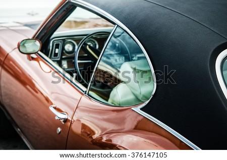Retro car, close up - stock photo