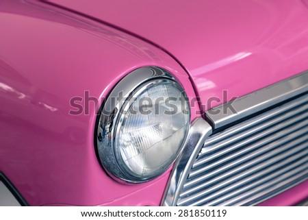 retro car headligh, car parts - stock photo