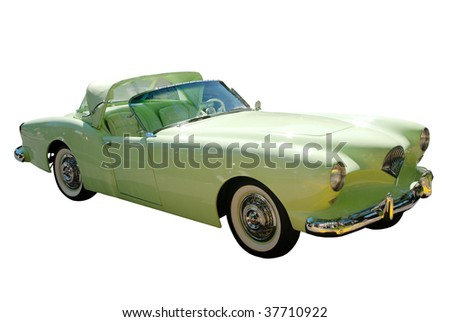 Retro car isolated on white - stock photo
