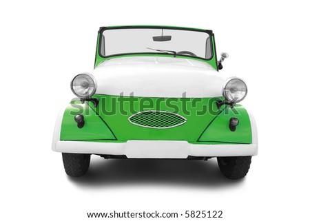 Retro car isolated on white - stock photo