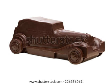 Retro car made of dark chocolate - stock photo