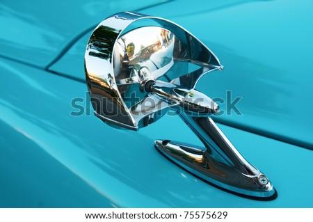 Retro Car side mirror - stock photo