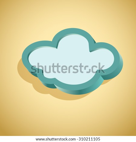 Retro card with cloud sign as text frame - stock photo