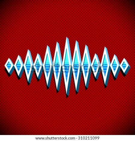 Retro card with 3D sound waveform and shadow - stock photo