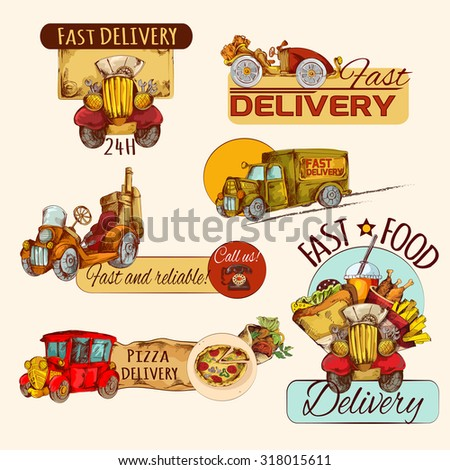 Retro cars fast food delivery hand drawn emblems set isolated  illustration - stock photo