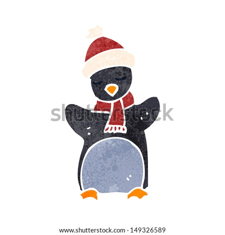 retro cartoon funny penguin