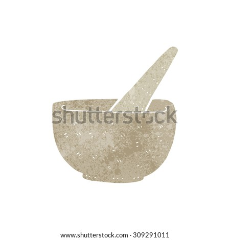 retro cartoon pestle and mortar - stock photo