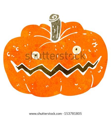 retro cartoon pumpkin - stock photo