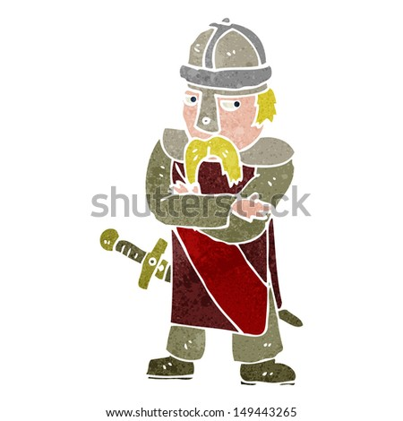 retro cartoon saxon warrior