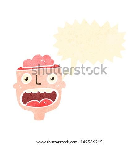 retro cartoon shouting man with open head - stock photo