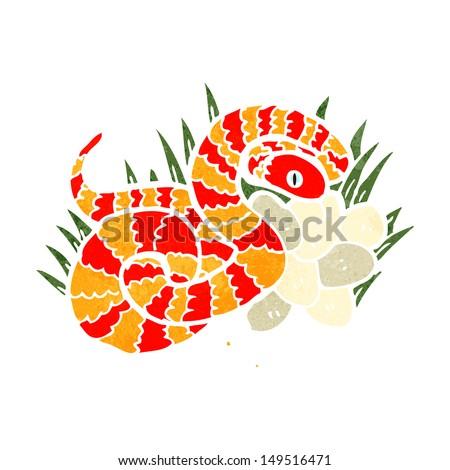 retro cartoon snake on nest of eggs - stock photo