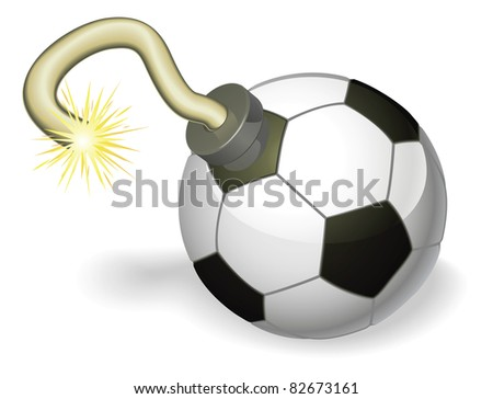 Retro cartoon soccer ball cherry bomb with lit fuse burning down. Concept for countdown to big football event or crisis.