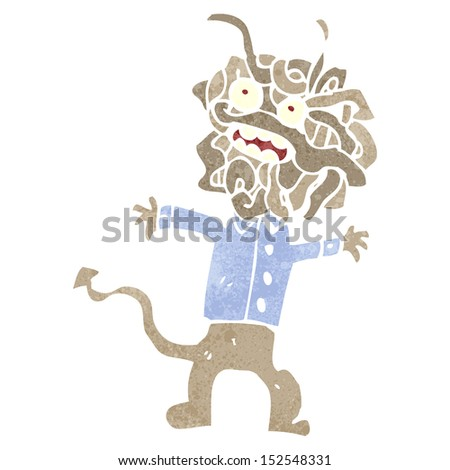 retro cartoon spaghetti head monster