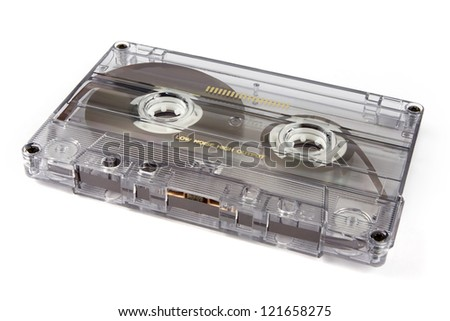 Retro cassette tape on a white background