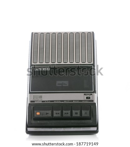 Retro Cassette Tape player and recorder isolated on a white  - stock photo