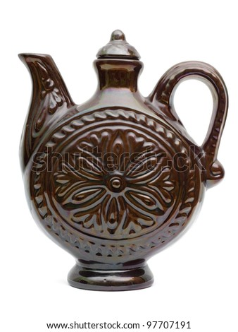Retro Ceramic teapot or carafe. - stock photo