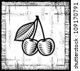 Retro cherry black and white - stock vector