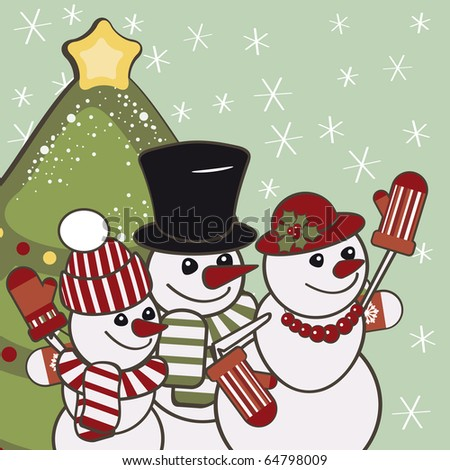 Retro Christmas card with a family of snowmen.