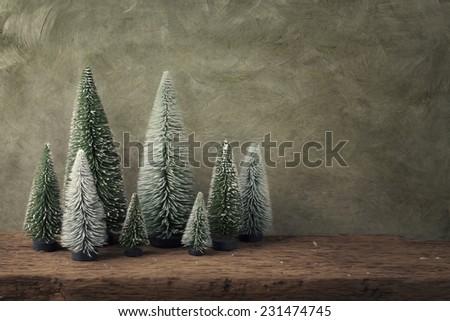 Retro christmas decoration on green background - stock photo