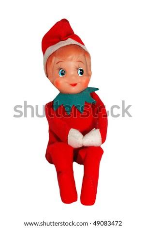 Retro Christmas Elf on White - stock photo