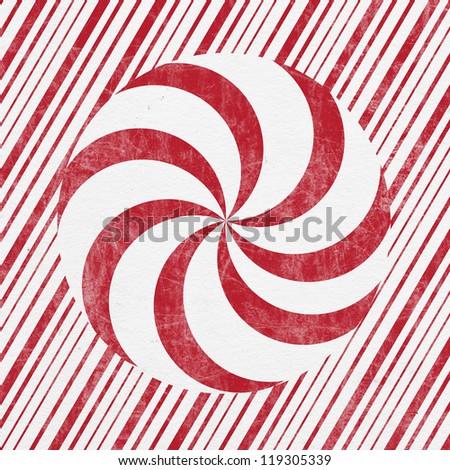 Retro Christmas Letterpress Greeting Card - Peppermint Stripes - stock photo