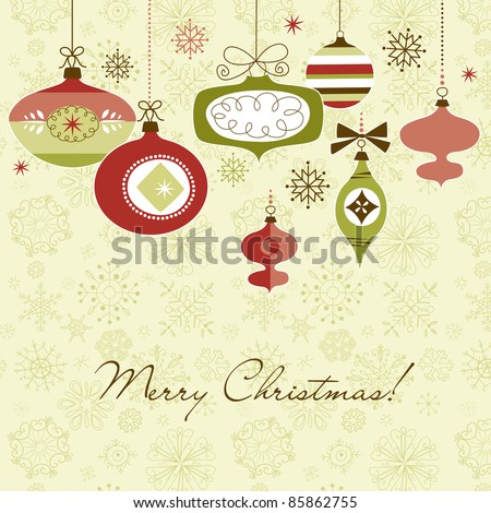 Retro Christmas Ornaments - stock photo